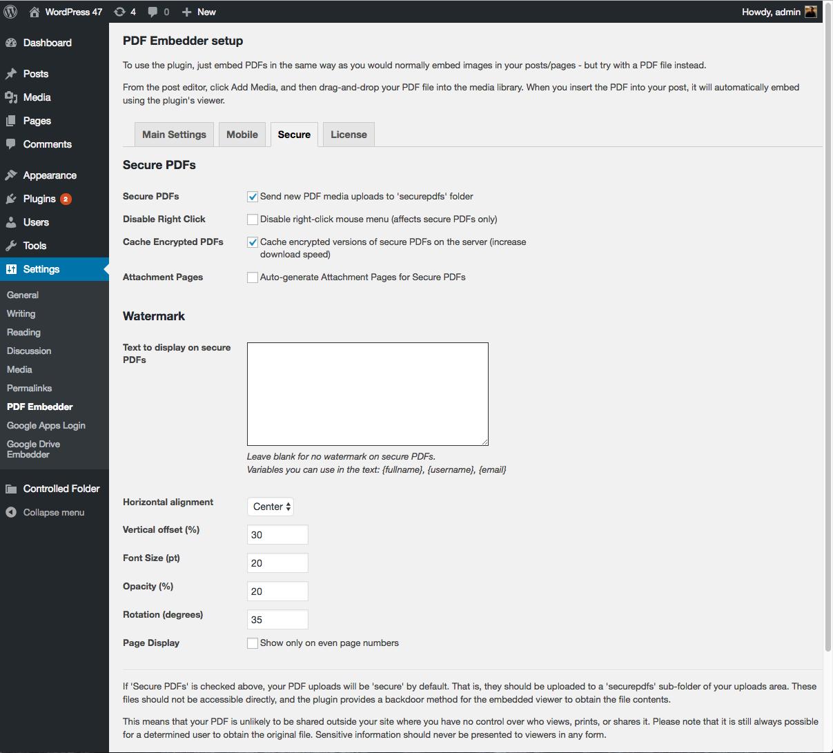 Using PDF Embedder Premium Secure   PDF Plugins for WordPress