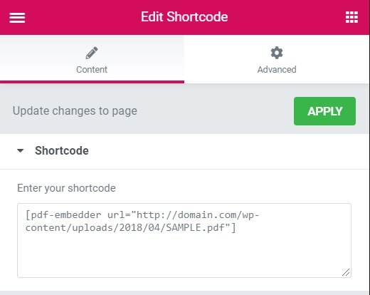 Elementor shortcode