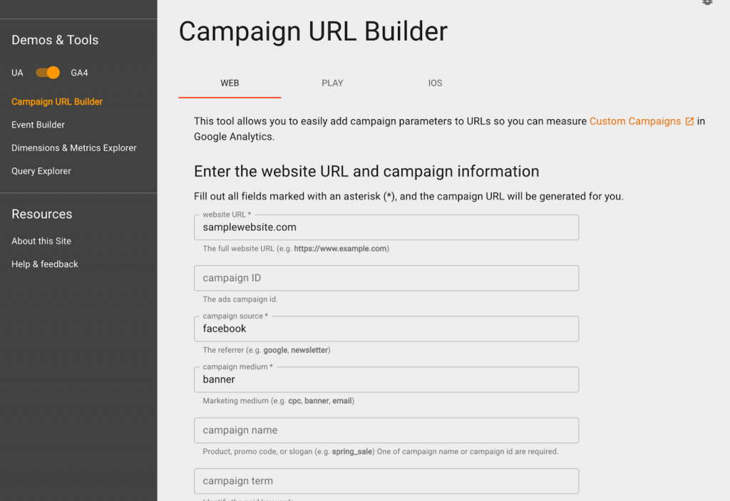 Campaign builder with sample parameters